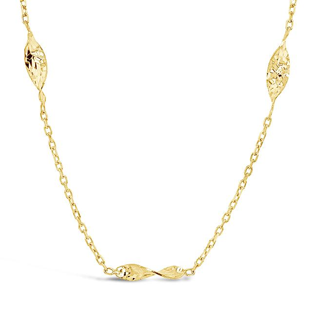 10K Yellow Gold Twisted Leaves Station Necklace - 18""