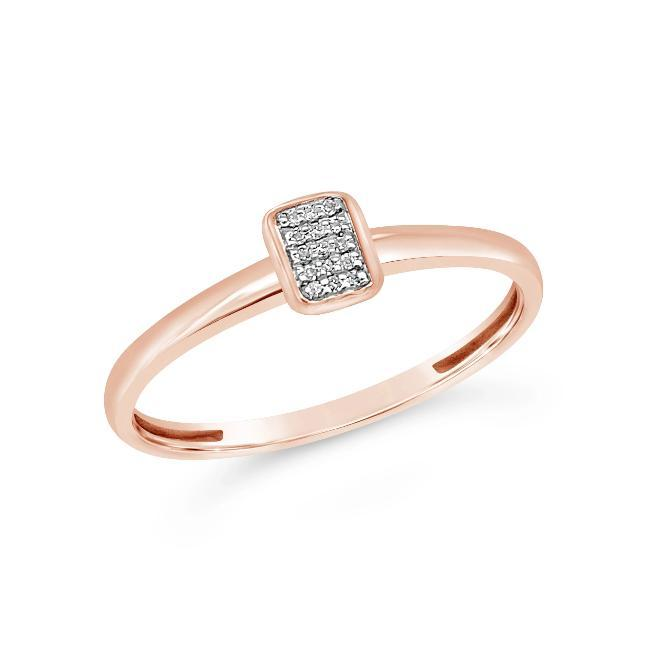 Diamond Accent Geometric Fashion Ring in Rose Gold-Plated Sterling Silver
