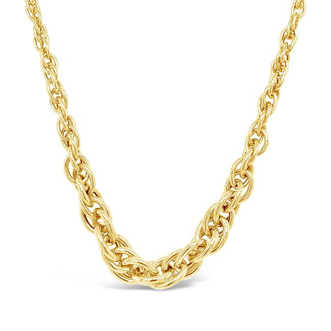10K Yellow Gold Graduated Fancy Link Necklace - 18""