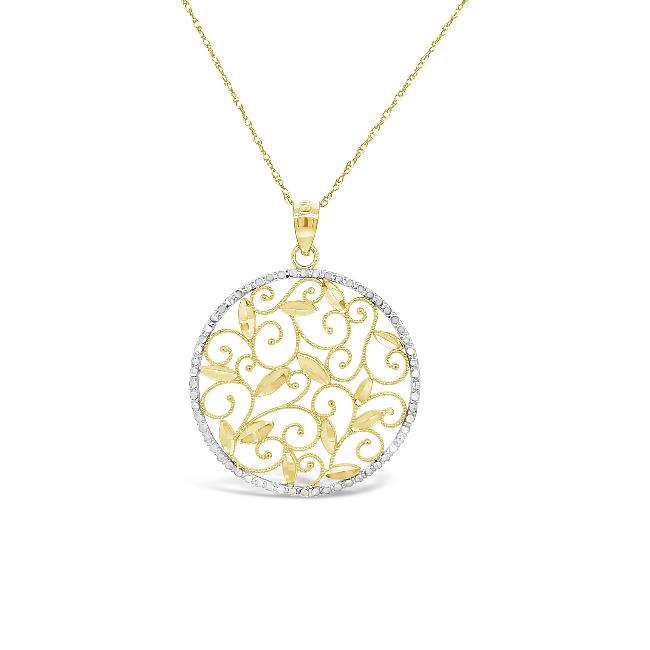 10K Gold Two-Tone Diamond-Cut Leaves Pendant with chain - 18""