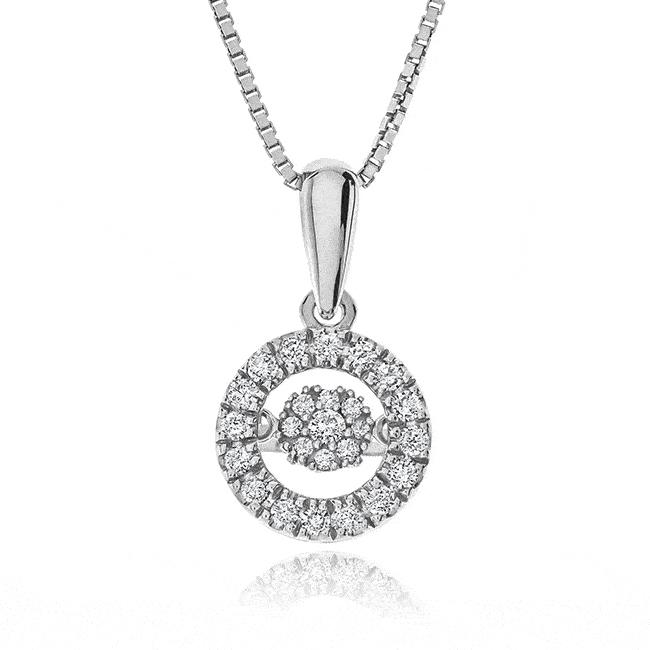 1/5 Carat Diamond Dancing Halo Necklace in Sterling Silver - 18""
