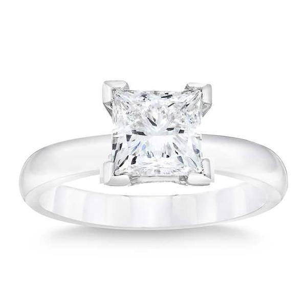 1.50 Carat Princess Cut Solitaire Diamond Ring in 14K White Gold (H-I;I2/I3)