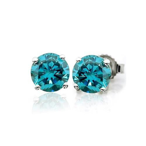 1/6 Carat Blue Diamond Stud Earrings in 14k White Gold