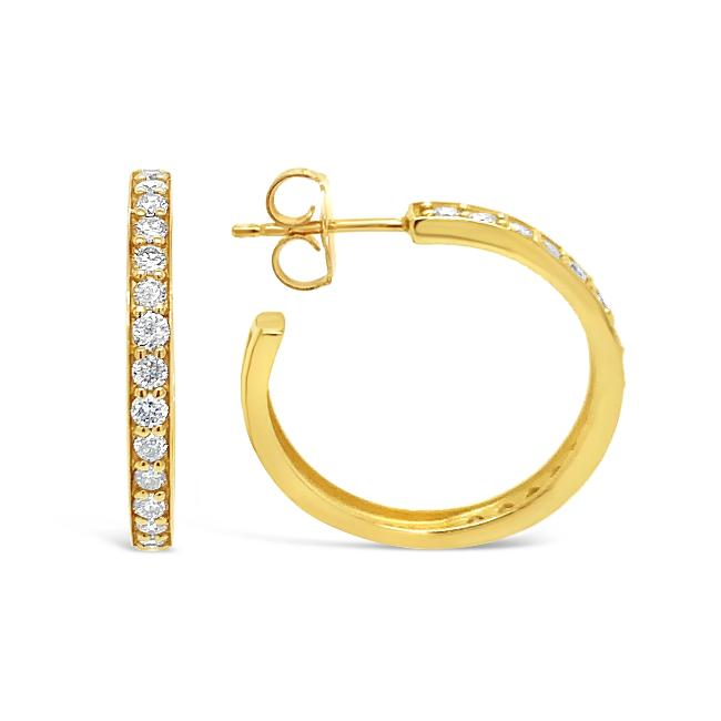 3/4 Carat Diamond Hoop Earrings in 14K Yellow Gold