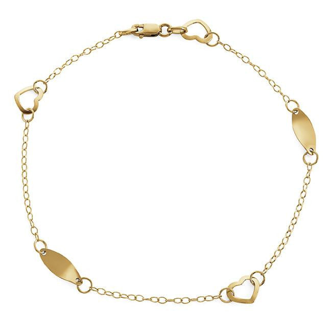 10K Yellow Gold Heart & Polished Oval Anklet - 9.5""