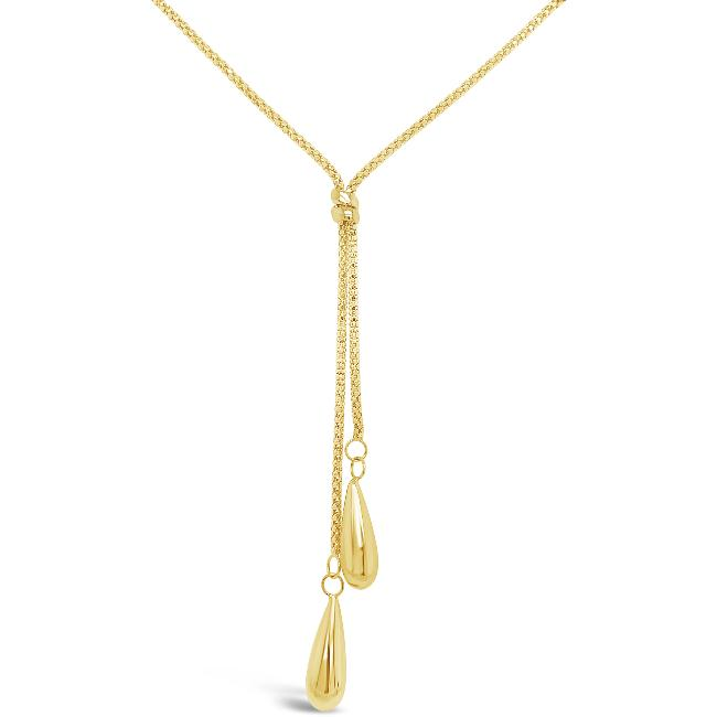 10K Yellow Gold Fancy Y Necklace - 17""