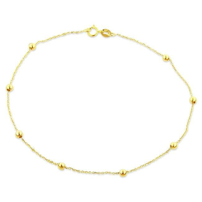 14K Yellow Gold Bead Station Anklet - 9.5""