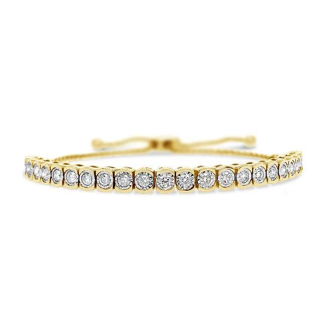 1.00 Carat Diamond Bolo Bracelet in 14K Yellow Gold