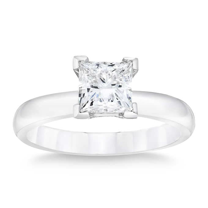 1.00 Carat Princess Cut Solitaire Diamond Ring in 14K White Gold (H-I;I2)