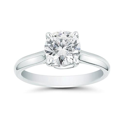 1.00 Carat Round Cut Solitaire Diamond Ring in 14K White Gold (H-I;I2)