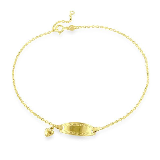 10K Yellow Gold Fancy ID Anklet - 9.5""