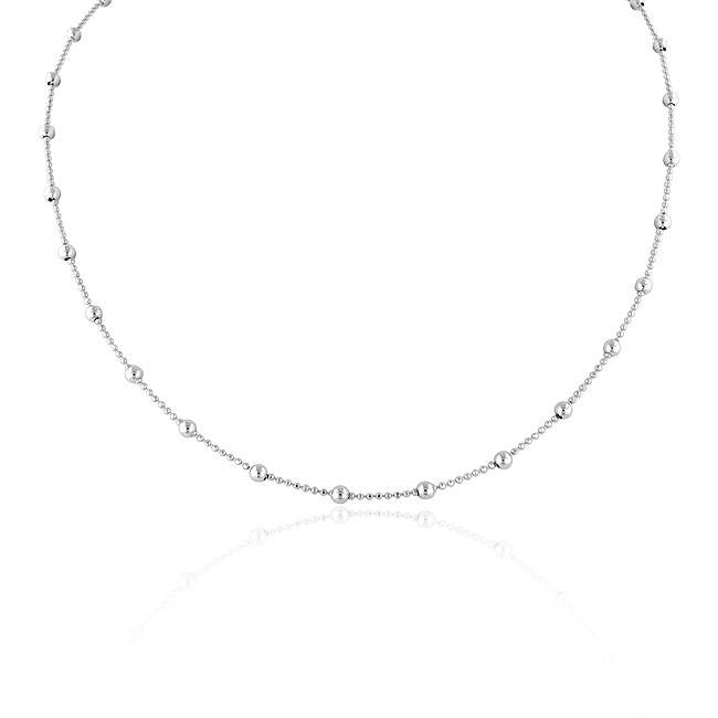 Bead Station Necklace in Sterling Silver - 18""