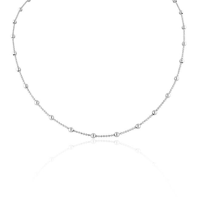 Bead Station Necklace in Sterling Silver - 20""