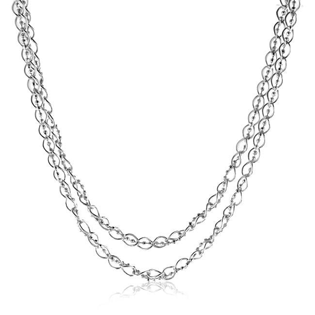 Beaded Oval Link Necklace in Sterling Silver - 36""