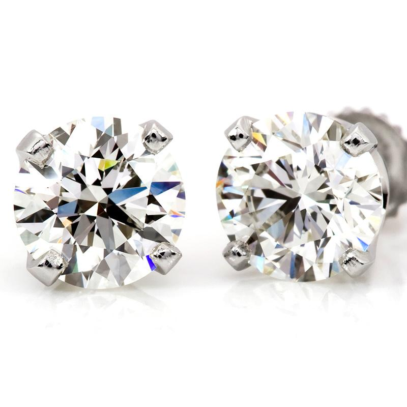 14K WG 2.00ctw Round Diamond 4-Prong Stud Earrings (H-I,I1-I2)
