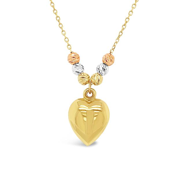 10K Yellow Gold Heart Pendant with Beads - 18""