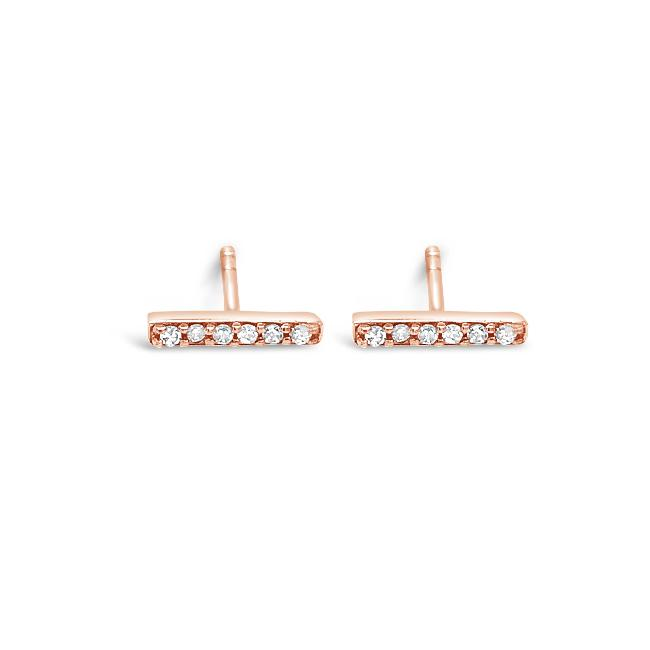 "Diamond Accent ""Cute & Tiny"" Bar Earrings in 10K Rose Gold"