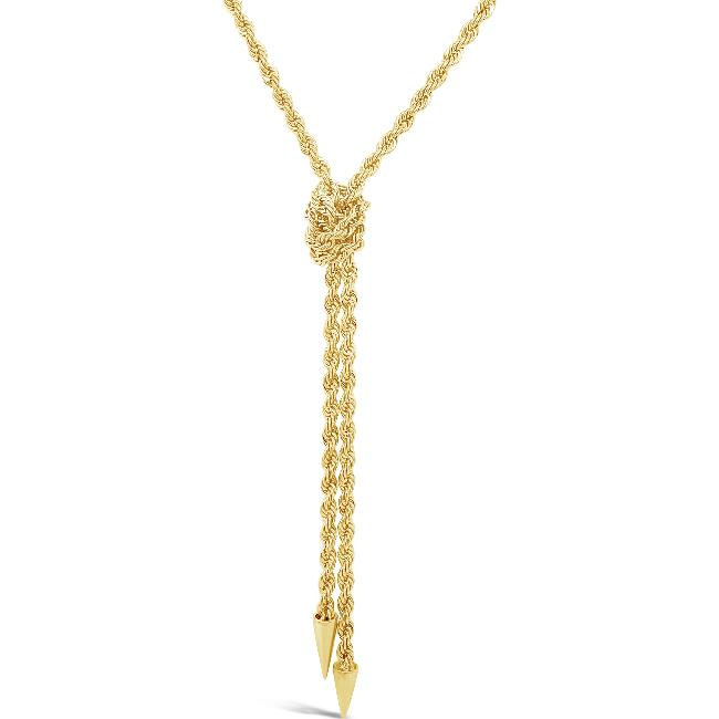 10K Yellow Gold Rope Knot Necklace - 18""
