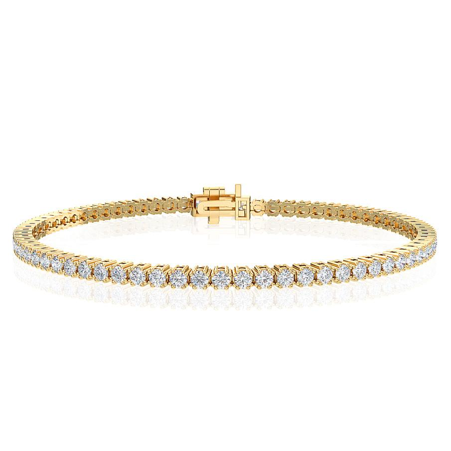 "2.50 Carat Lab-Grown Diamond Tennis Bracelet in 14K Yellow Gold - 7.25"" (G-H/SI2)"