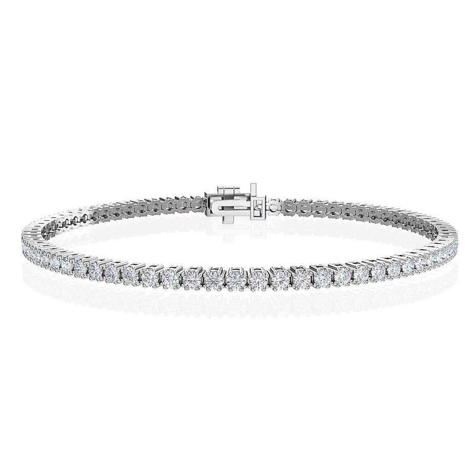 "2.50 Carat Lab-Grown Diamond Tennis Bracelet in 14K White Gold - 7.25"" (G-H/SI2)"