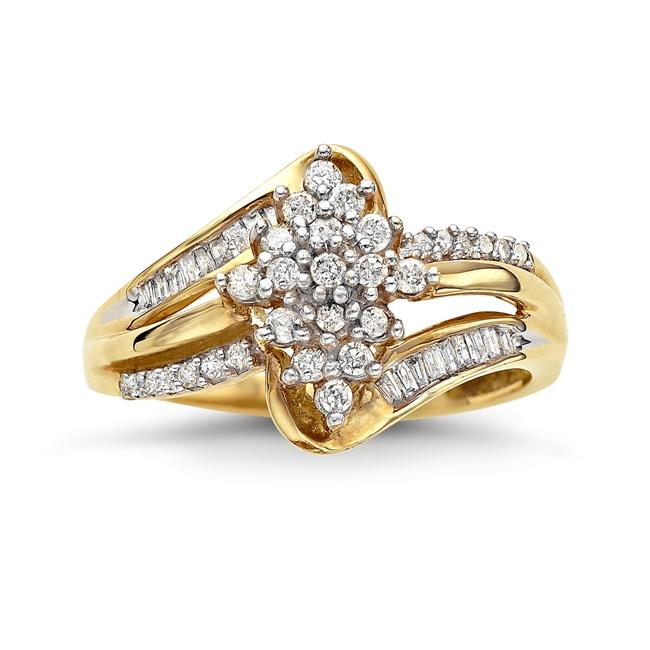 1/3 Carat Diamond Cluster Ring in 10K Yellow Gold