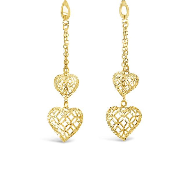 10K Yellow Gold Double Heart Dangle Earrings