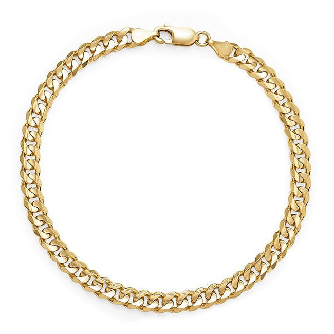 14K Yellow Gold Curb Link Men's Bracelet - 8.5""