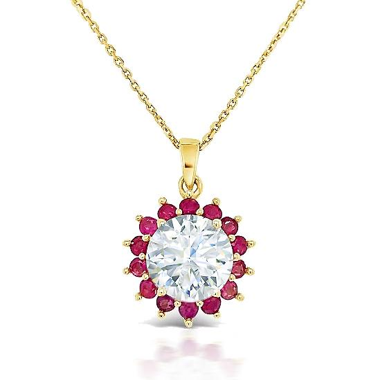 2.00 Carat Moissanite & Genuine Ruby Pendant in 14K Yellow Gold - 18""