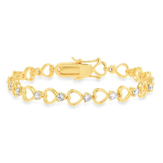 Cubic Zirconia Heart Bracelet in 18K Yellow Gold-Plated Brass - 7.5""