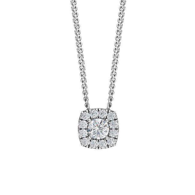 "1/2 Carat Lab-Grown Diamond Halo Pendant in 14K White Gold - 18"" (G-H/SI2)"