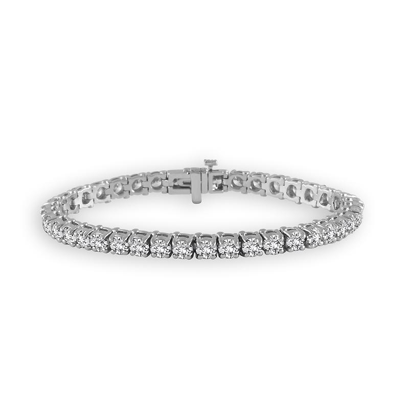 "6.75 Carat Diamond Straight Link Tennis Bracelet in 14K White Gold -7""  (H-I,I2)"