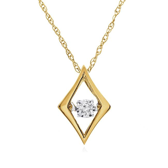 "10K Yellow Gold  Diamond Marquise Necklace  with 18"" Chain"