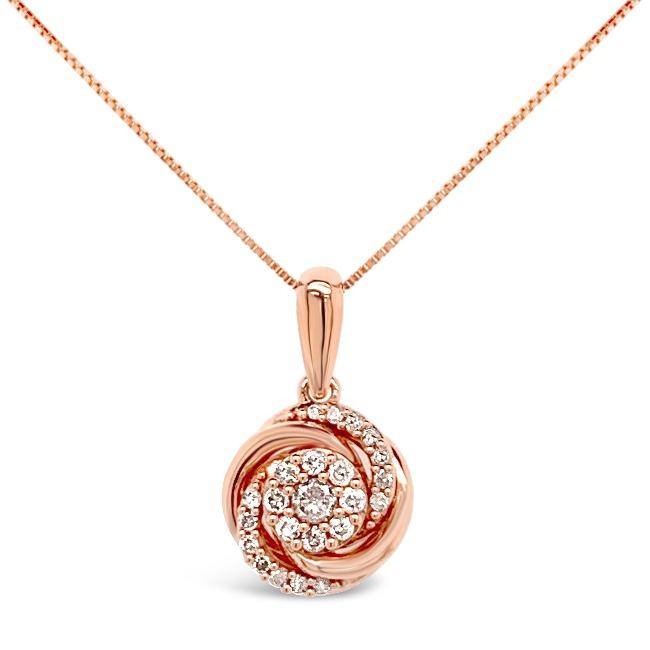 1/4 Carat Diamond Flower Pendant in 10K Rose Gold - 18