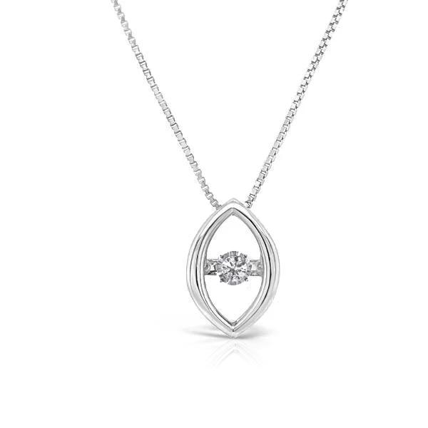 "10K White Gold Diamond  Pendant with 18"" Chain"