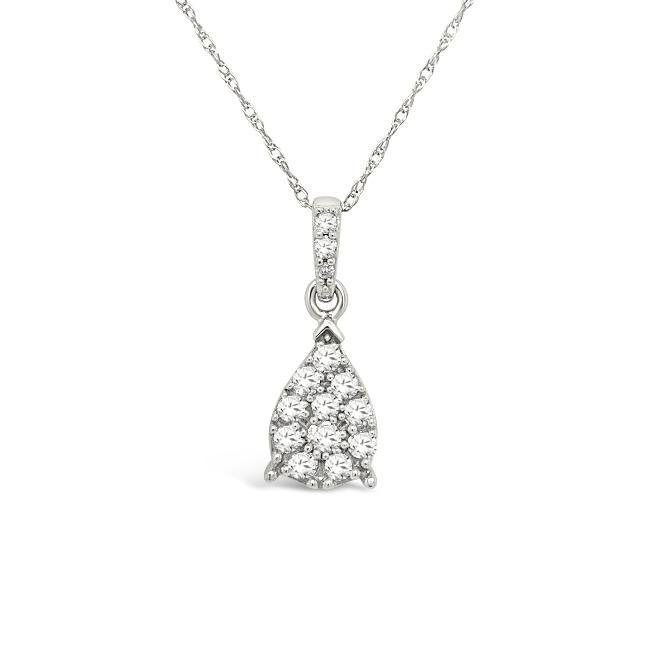1/4 Carat Diamond Pear Shaped Pendant in 10K White Gold - 18""