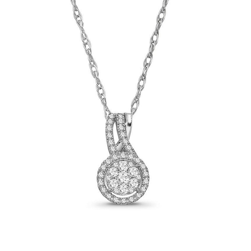 1/4 Carat Diamond Cluster Pendant in 10K White Gold