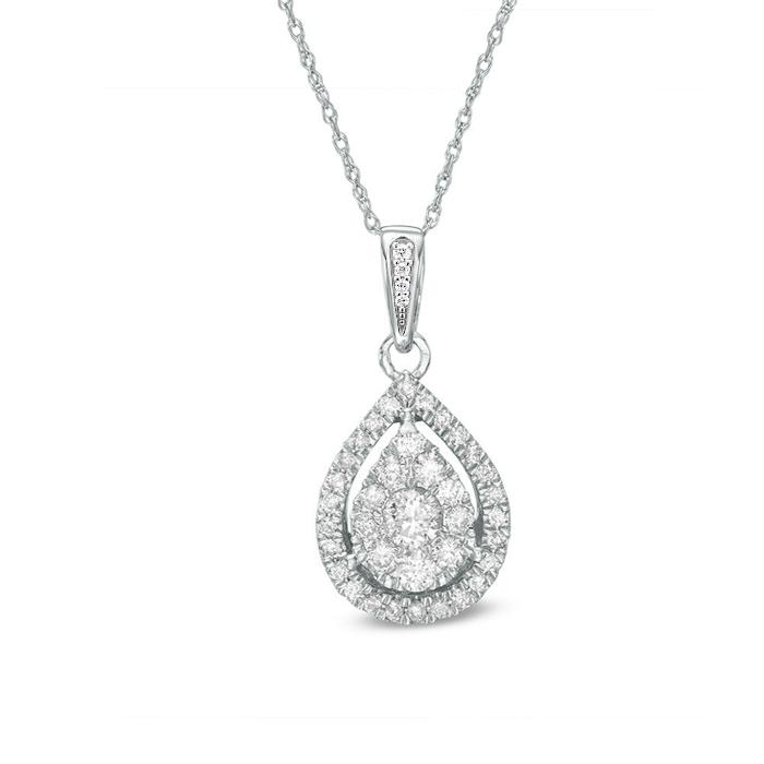 "1/4 Carat Diamond Pendant in 10K White Gold with 18"" Chain"