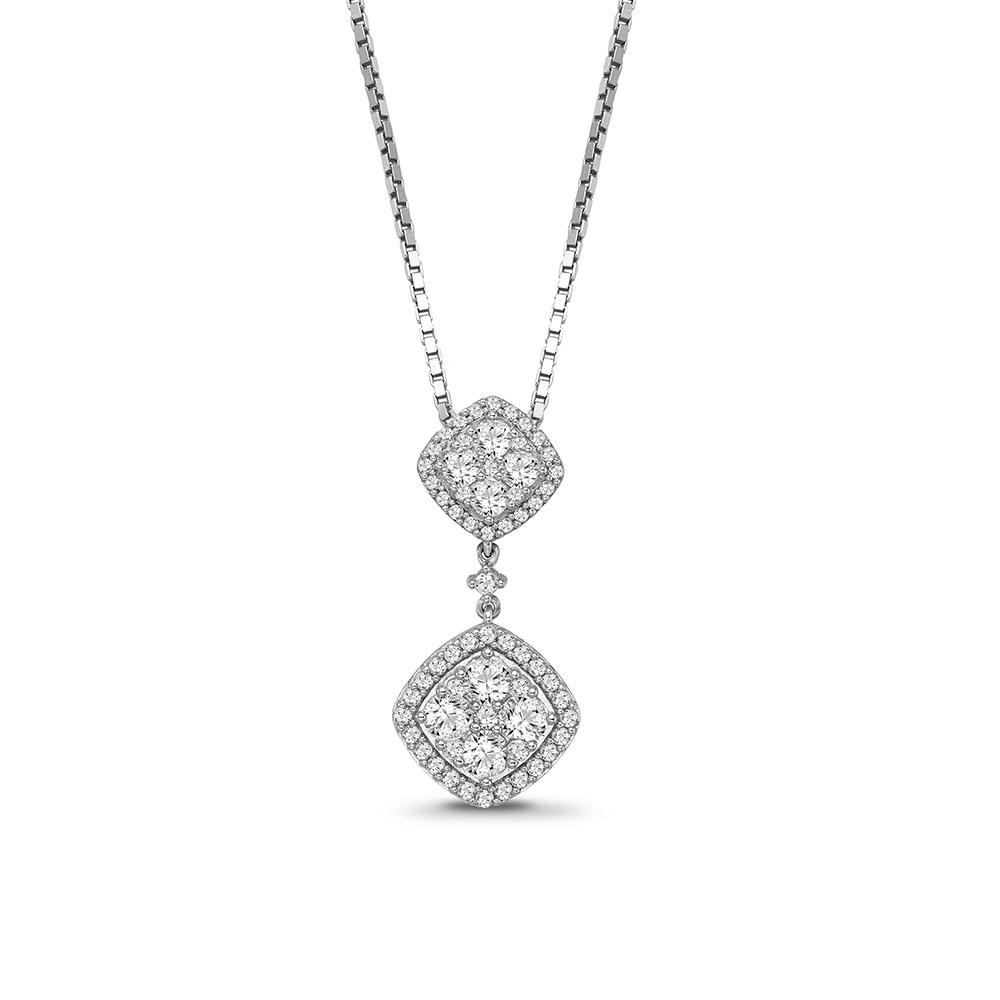 1.00 Carat Diamond Cluster Halo Pendant in 10K White Gold