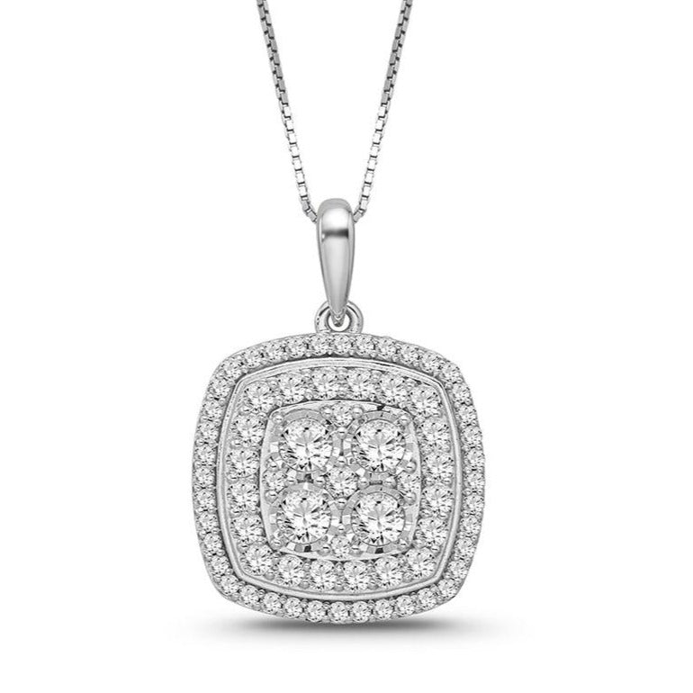 1.00 Carat Diamond Necklace in 10K White Gold - 18""