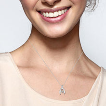 "Load image into Gallery viewer, Sparkle in Motion: 10K White Gold Diamond Accent Wishbone Pendant with 18"" Chain"