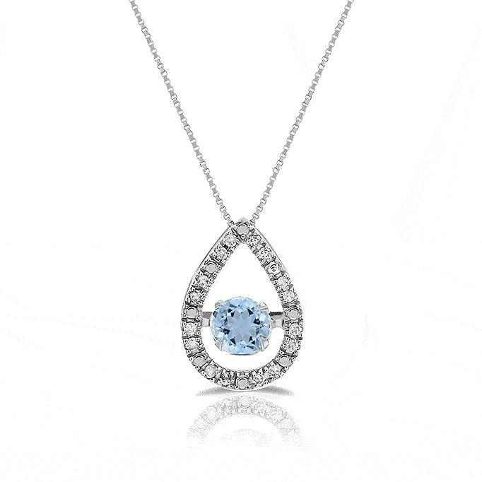 1/2 Carat Aquamarine & Diamond Accent Teardrop Necklace in 10K White Gold