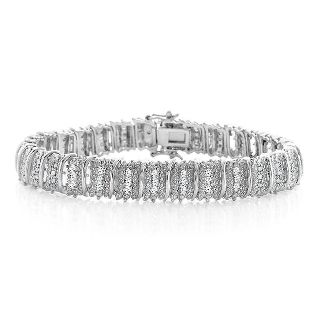 1.00 Carat Diamond Bracelet in 14K White Gold/Bronze - 7.5""