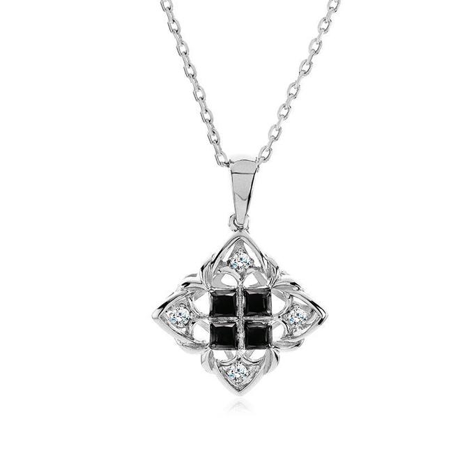 "0.17 Carat Black & White Diamond Princess Pendant in Sterling Silver with 18"" Chain"