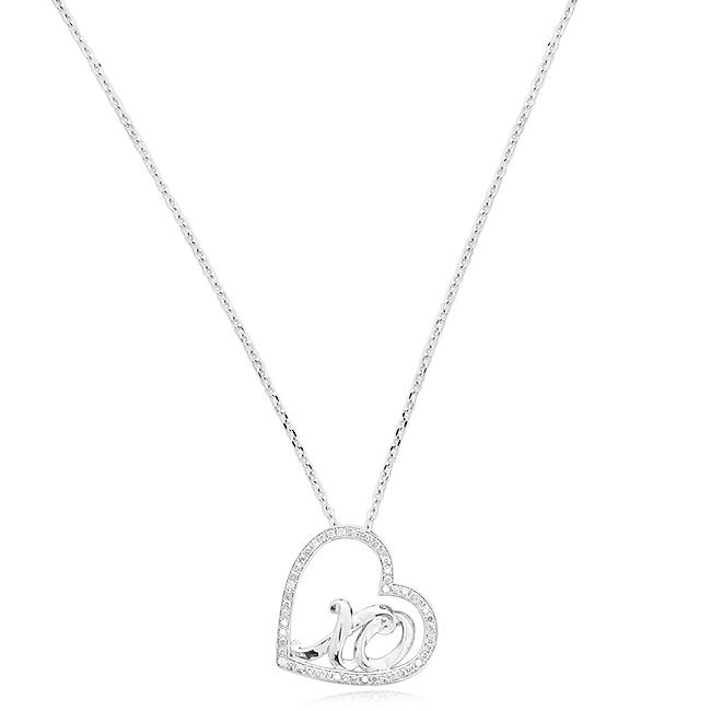 1/3 Carat Diamond XO Heart Pendant in Sterling Silver - 18""