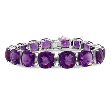 Load image into Gallery viewer, 85.00 Carat Genuine Purple Amethyst Bracelet in Sterling Silver - 8""