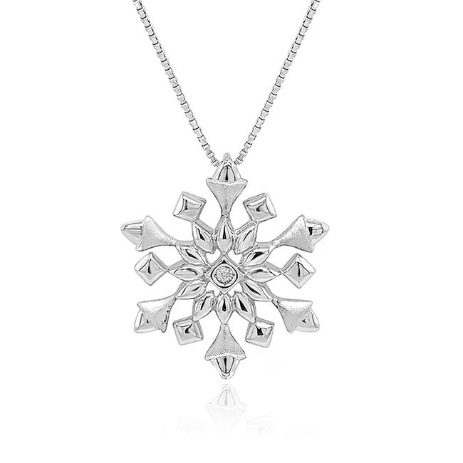 Diamond Accent Snowflake Pendant in Sterling Silver - 18""