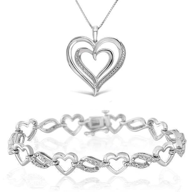 1/10 Carat Diamond Heart Bracelet in Sterling Silver | FREE Diamond Necklace