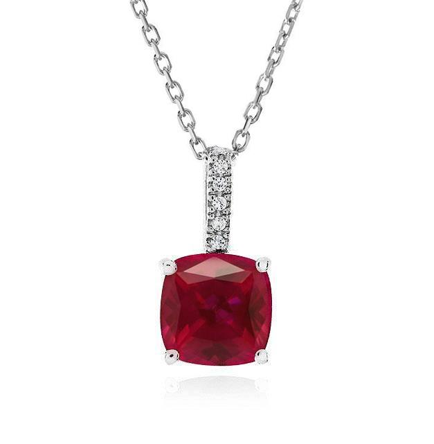 2.50 Carat Ruby Pendant in Sterling Silver with Chain