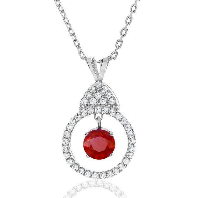 1.00 Carat Ruby and White Sapphire Necklace in Sterling Silver with Chain