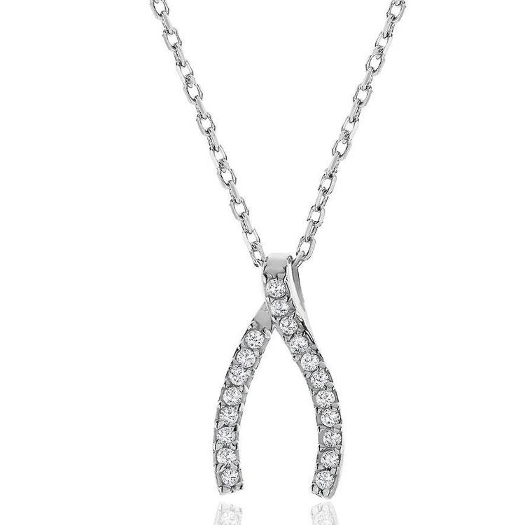 1/2 Carat White Sapphire & Diamond Accent Wishbone Necklace in Sterling Silver